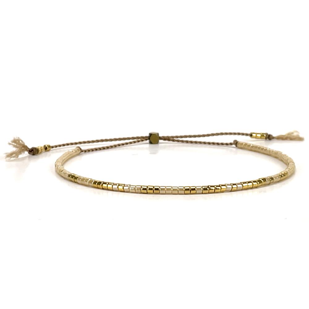 Morse code bracelet - champagne